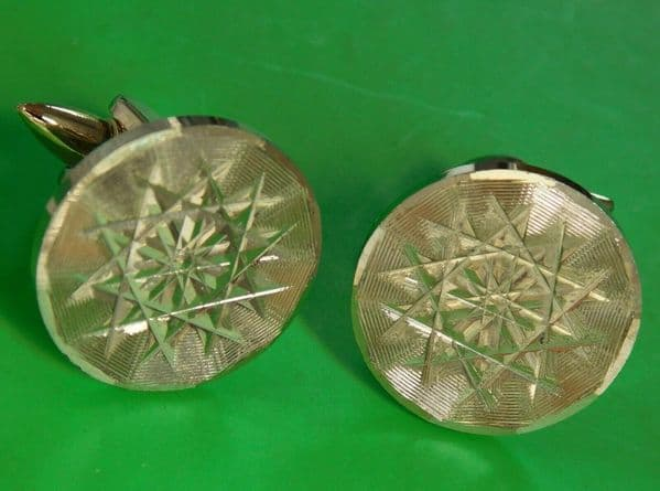 Vintage Stratton gilt cufflinks star pattern Mens traditional accessories gc